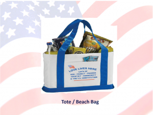 Love Lives Here In The USA - Show your love of US with this Beach Tote Bag.