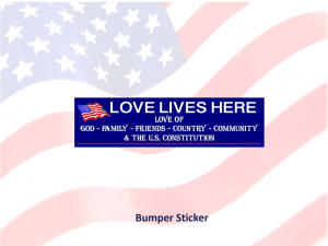 Love Lives Here In The USA - Show your love of US with this Bumper Sticker